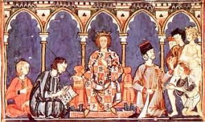 El rey Alfonso X el Sabio dictando