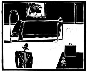 """Ilustración de Antonio Santos para """"La metamorfosis"""" de Editorial Nórdica, traducida por Isabel Hernández"""