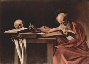 San Jerónimo escribiendo, Caravaggio, 1605